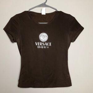 Vintage 1990's Versace logo stretch mini tee